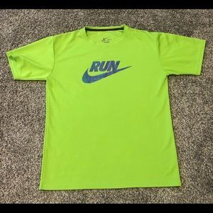 Nike Run Dri Fit Green Purple Workout Gym Shirt